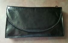 Eclipse Large Black Polyurethane Leather Tobacco Pouch With 2 Zippers