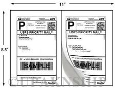 100 Paypal Shipping Postage Labels/ 2 Labels to Page 8.5x5.5 with Square Edges
