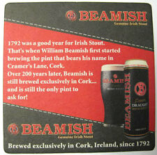 BEAMISH GENUINE IRISH STOUT Beer COASTER Mat, Cork, IRELAND since 1792