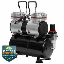 Twin Piston Airbrush Compressor with Tank - 1/3 HP