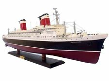 "SS United States Cruise Ship Assembled Ocean Liner 32"" Built Wood Model Boat New"