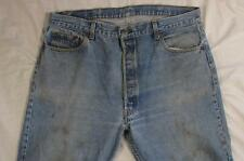 Vtg 80s Levi 501 USA Made Button Fly Faded Denim Transition Jean Measure 39x30