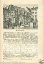 Place Saint-André Palais de Justice Grenoble Isère France GRAVURE OLD PRINT 1882