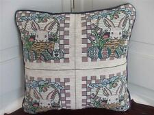 """Tapestry Accent Toss Pillow Easter Bunny Rabbit Basket Eggs Tulips Small 11""""x11"""""""