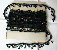 6 mètres de galon de perles noires frange Art-Déco