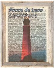 Ponce De Leon Lighthouse Florida Altered Art Print Upcycled Vintage Dictionary