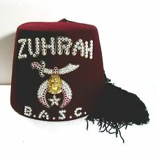 ZUHRAH Fez B.A.S.C. w rhinestones jeweled hat masons/masonic/shriners