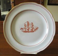 Spode England Trade Winds Red Ship Grand Turk Dinner Plate Scalloped Gold Trim