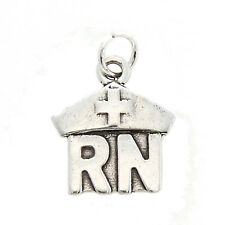 STERLING SILVER ONE SIDED REGISTERED NURSE RN CHARM PENDANT