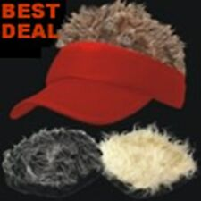 Funny Fake Hair HAIRY Spiky RED VISOR Hat Cap GAG Gift