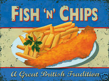 Funny RETRO METAL PLAQUE : FISH and CHIPS Ad/Sign