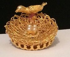 Direction One Signed Filigree Gold Tone Birds Nest With Eggs Bird Brooch #A4