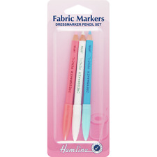 Hemline Dressmakers Fabric Chalk Sewing Pencils 3 Colours Marker