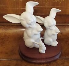 THREE VINTAGE ROSENTHAL RARE WHITE PORCELAIN FAMILY OF LAUGHING RABBITS