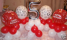 5 X BALLOON TABLE DECORATIONS DISPLAY 5TH BIRTHDAY PARTY FOOTBALL SOCCER AGE 5