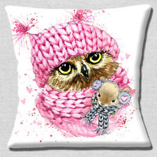 "CUTE OWL PINK KNITTED HAT SCARF SMALL MOUSE ON WHITE 16"" Pillow Cushion Cover"