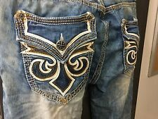 AFFLICTION ACE FLEUR BRENTWOOD MEN'S JEANS STRAIGHT LEG CUSTOM Sz 34 NEW w TAGS