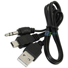 USB2.0 Mini B Male to  A Male + 3.5mm Audio Adapter AUX Charger Y Cable Black