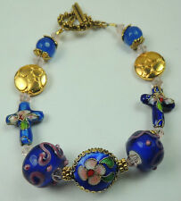 Blue & Pink Floral Cross Cloisonne & Lampwork Bracelet with Gold Tone Beads