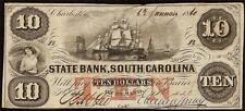 1860 $10 Dollar Bill South Carolina Bank Note Large Currency Big Paper Money Vf
