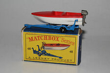 MATCHBOX LESNEY #48B SPORTS BOAT & TRAILER, SILVER MOTOR, BOXED TYPE D, LOT B