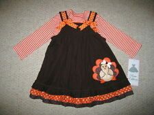 """NEW """"TURKEY STRIPES"""" Thanksgiving Day Dress Girls 24m Fall Clothes Outfit Baby"""