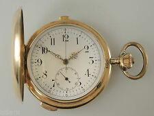 Solid 14K Gold Carillion QUARTER REPEATER Chronograph Hunter Pocket Watch c1900