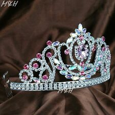 Pink Wedding Tiara Hair Comb AB Crystal Crown Headband Bridal Pageant Prom Party