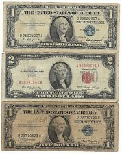 100% Rare Old 1935 1957 US Silver Certificate Big Lot USA Red Two Dollar Bill