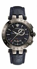 Versace Men's V-RACE Watch 29G98D282 S282 GMT ALARM Luminous Date Blue Leather