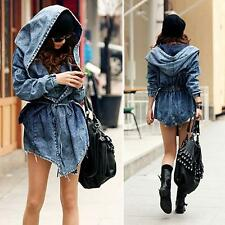 IN STOCK - Women`s Denim Trench Coat Hoodie Outerwear Hooded Jeans Coat Jacket