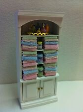 Bathroom Cabinet With Fixed Towels & accessories, Dolls House Miniatures,