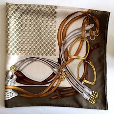 NWT GUCCI AUTHENTIC HORSEBIT MULTI LOGO PRINT LIGHT BROWN 100% SILK TWILL SCARF