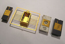 4x Gold Partial Ceramic CPU Chips For Your Collection CPU IC logic gold scrap