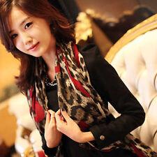 Damen Leopard lange stilvolle weichen Seidenchiffon Schal Verpackungs Schals