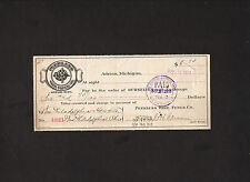 signed 1915 check from Peerless Wire Fence Co. of Adrian, Michigan * G H Greene