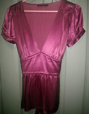 Designer Zimmermann Size 2 10 12 Pink Satin Feel Silky V Neck Event Evening Top