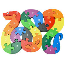 Children Wooden Puzzle 26 English Letters Number Learning lovely snake Toy Sets