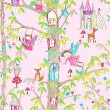 Woodland Pink Fairies Wallpaper Fairytale Design with Glitter by Arthouse 667000