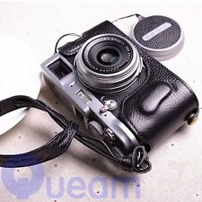 Hand-made Black Leather Half Camera Case Bag Cover Protector For Fujifilm X100T