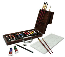 WATERCOLOUR PAINTING & BRUSHES PREMIER DELUXE WOODEN BOX CASE SET ARTIST WAT2020