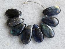AA Natural Dark Labradorite Smooth Pear Briolette Gemstone Beads 001