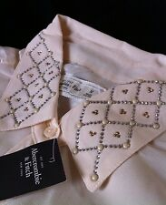 Abercrombie & Fitch Sheer Embellished Button Down Double Pocket Shirt M Blouse