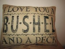 Primitive Stenciled Pillow - I love you a bushel and a peck