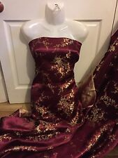 """1 MTR MAROON ORIENTAL CHINESE FLORAL BROCADE FABRIC..45"""" WIDE £4.99"""