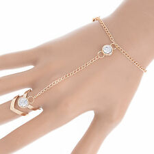 Fashion Glitter Rhinestone Hand Bracelet Slave Chain Link Finger Ring Gold New U