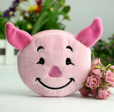 Women's Girl's Cartoon Kawii Pink Pig Plush Coin Wallets Purse Gift 1pc