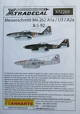 Xtradecal 1/72 X72269 Messerschmitt Me262 (A-1a/A-1a/U3, A-2a/S-92) Decal set