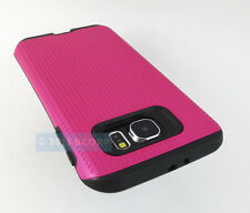 FOR SAMSUNG GALAXY S 6 S6 PINK BLACK HYBRID SHOCK PROOF DUAL LAYER CASE COVER