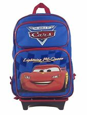 "Disney Cars Lightening Mc Queen Blue 16"" Back to School Rolling Backpack Bag!"